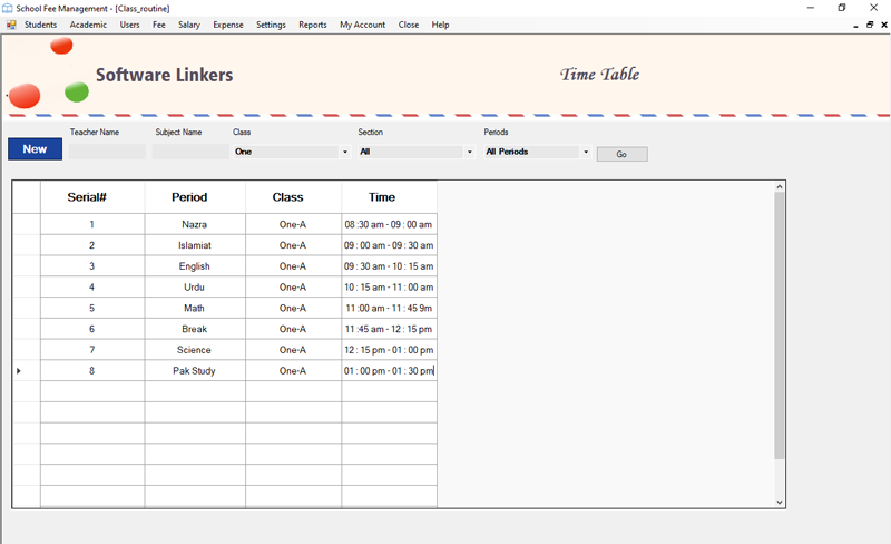 Timetable Management School Software